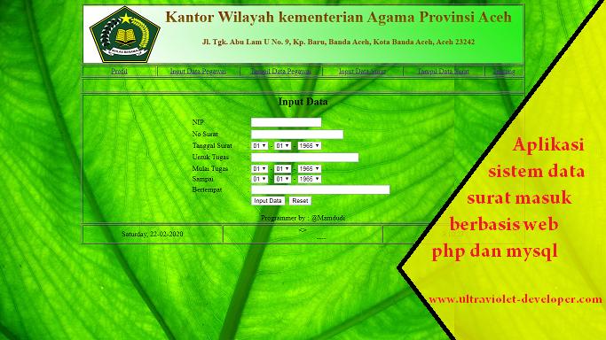 Aplikasi sistem data surat masuk berbasis web php dan mysql