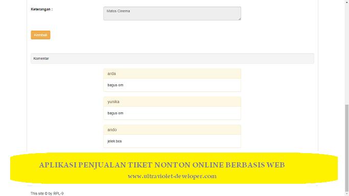 Download aplikasi tiket nonton online berbasis web PHP MySQL